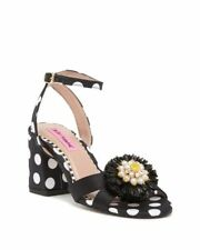 Women's Black & White High Heeled Shoes Sandal - Genuine - Betsey Johnson
