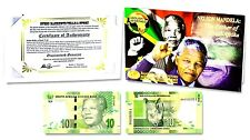 Nelson Mandela:The Father of South Africa,10 Rand Banknote,Folder & Certificate