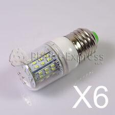 6 x Bombilla E27 6W 48 LED SMD 3014 Blanco Calido 12V/24V DC/AC Barco caravana