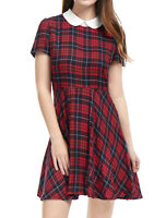 Allegra K Women Checks Peter Pan Collar Puff Sleeves Above Knee Dress Red XL