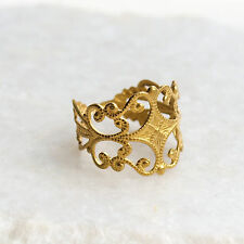 Filigree Ring Ornate Gold Brass Band Cuff Urban Boho Outfitter Bohemian Vintage