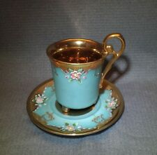 RARE TURQUOISE ROSES FLOWER HEAVY GOLD DEMITASSE CUP & SAUCER TEACUP FOOTED MARK