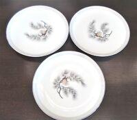 Mikasa Fine China Silver Pine B & B Plates x3 Gray Band Pine Needles 6004