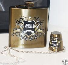 Stricher Flachmann Set Edelstahl Gold 180ml Schnapsflasche Taschenflasche