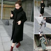 Womens Warm Wool Lapel Trench Parka Coat Jacket Long Slim Overcoat Outwear