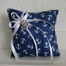 Ringkissen, maritim, Anker, nautisch, Strand, Meer Hochzeit, Navy blau