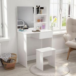 Modern Dressing Table Corner Vanity Set Makeup Desk w/ Drawer,Mirror & Shelves