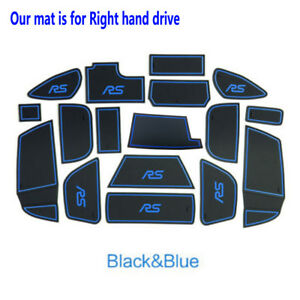 fits Ford Focus RS 2015-2018 Non-slip Gate Slot Pad Rubber Cup Holder Mats-Blue