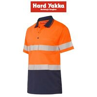 Mens Hard Yakka Polo Work Shirt Y11970 2T Toned Hi-Vis Short Sleeve Taped Top