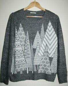 TU Grey Winter Trees Metallised Long Sleeve Top Blouse Christmas Jumper Size 12