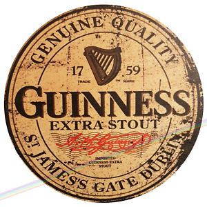Circle Wooden Signs - GUINNESS Mancave Vintage Retro Wood Bar Pub Lager Sign