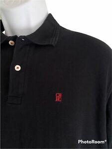 Carolina Herrera Men's Medium Navy Embroidered Logo Polo Shirt EUC