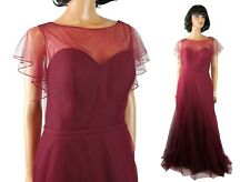 NWT Marys Amalia Bridesmaid Dress Sz 12 L Long Mulberry Purple Tulle Prom Gown