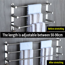 Towel Rail 3-Tier Bath Towel Holder Bar Storage Rack with 2 Hooks Wall Mounted