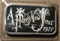 1977 Happy New Year Madison Mint 1 Ounce .999 Silver Art Bar