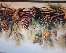 2 Wallpaper Borders Pinecone Garland Green Brown on Tan Scalloped Edging Cabin
