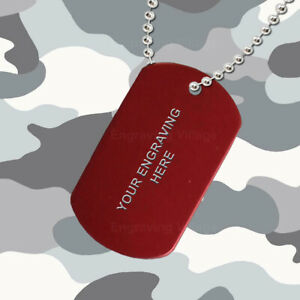 Red Aluminium - Personalised / Engraved-Army-Military-Dog-ID / Tag & Chain