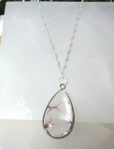 Necklace with Natural Crystal Pendant 18 inch Sterling Sliver Chain Boho Chic