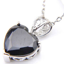 2018 Heart-Shaped Black Onyx Gemstone Silver Necklace Pendants with Free Chain