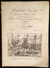 "Late 18th/early 19th c. Illustrated Engraved Sheet Music ""Combat Naval"" Steibelt"