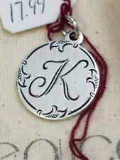 Beaucoup Designs Charm Made In USA Silver Tone K Monogram 2 sided coin 1887 NEW