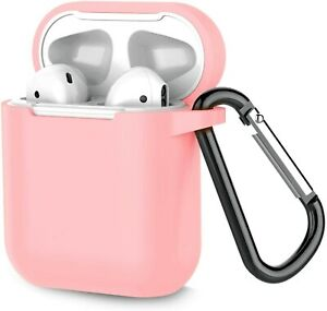 Silicone Airpod Case Soft Cover With Belt Clip Carrabiner For Apple AirPods 1 2