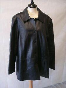 M&S Black 100% Super Soft Genuine Leather Jacket ~Size 20~ Mint Condition