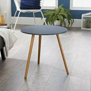 Contemporary Grey Round Wooden Side Table With Wooden Legs