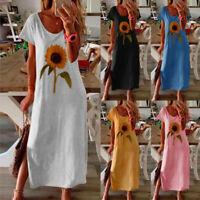 AU Women Summer Loose Sunflower Print Short Sleeves Side Split O-Neck Long Dress