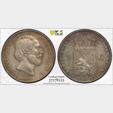 1863 Netherlands 1/2 Gulden PCGS AU 58 . KM-92
