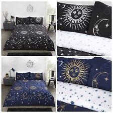 Celestial Astronomy Moon Stars Sun Metallic Quilt Cover Duvet Bedding Set Linen