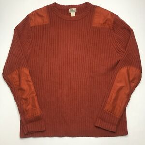 LL Bean Mens Knit Sweatshirt With Elbow Pads XL Orange Long Sleeve