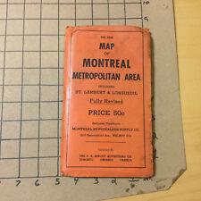 "Vintage Original Map: map of MONTREAL METROPOLITIAN AREA - 24X42"" old undated"