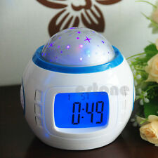 Music Starry Star Sky Projection Alarm Clock Thermometer Calendar LED Digital