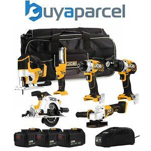 "JCB 186PK 18V Cordless 6 Piece Tool Kit Jigsaw 3x4.0Ah Batteries Charger 26"" Bag"