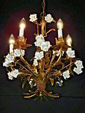 ANTIQUE Petite Italian 5 Arm 5 Lite Gilt Tole White Porcelain Rose Chandelier