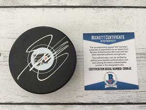 Shayne Gostisbehere Signed Philadelphia Flyers Hockey Puck Beckett BAS COA c