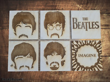More details for the beatles wooden coaster set engraved on premium grade beach wood, with stand