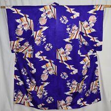 "Vintage Japanese Kimono Woman's Silk Robe Collectible Display ""Royal Purple"""