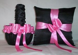 BLACK SATIN /  HOT PINK RIBBON TRIM FLOWER GIRL BASKET & RING BEARER PILLOW