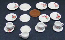 1:12 Scale 16 Piece Hand Painted Red Floral Ceramic Tea Set Dolls House TS3