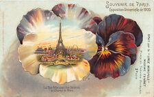 """1900 Exposition Universelle Eiffel Tower """"Linge Monopole"""" Souvenir De Paris"""