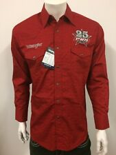 NWT Wrangler RED PBR Logo Rodeo Western Embroidered Long Sleeve.(XL) Shirt