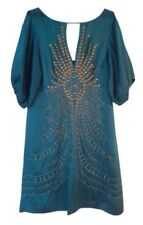 NANETTE LEPORE WOMEN'S DARJEELING BEADED COCKTAIL DRESS,TEAL size 2