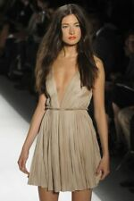 $3750 Authentic Runway J. Mendel V neck pleated Nude Dress Size 6 (S)