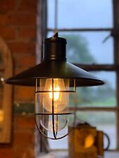 Vintage Industrial Harbour Caged Pendant Light With Free Edison Bulb