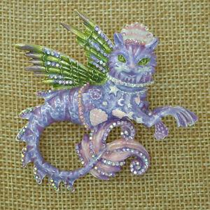 Kirks Folly Magical Mercat Pin Pendant Silvertone Hand Enameled Purple & Pink