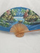 "Vintage Oriental Hand Painted Silk Bamboo Wall Art Decor Large Fan 24""x40"""