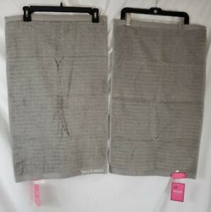 """Juicy Couture Gray Bath Hand Towel Set of 2 Towels - New with Tags 16""""X26"""""""