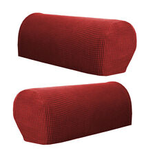 2pcs Sofa Armrest Covers Loveseat Couch Armchair Arm Slipcover Burgundy